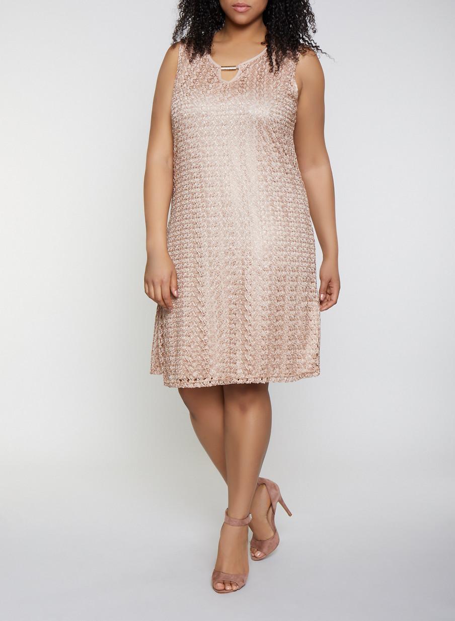 Plus Size Keyhole Lace Shift Dress