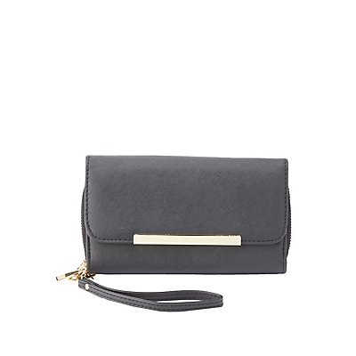 Silver-Tipped Double-Zipper Wristlet Wallet