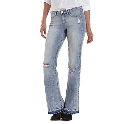 Refuge Flare Frayed-Hem Destroyed Jeans