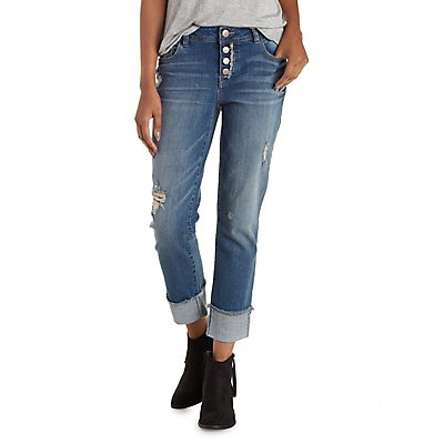 Refuge Ankle Skinny Destroyed Cuffed Jeans