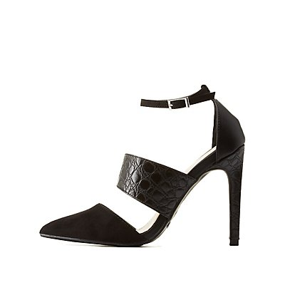 Pointed Toe Embossed Strap Pumps