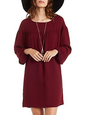 Long Sleeve Ruched Yoke Shift Dress