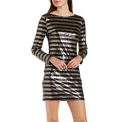Striped Sequin Bodycon Dress