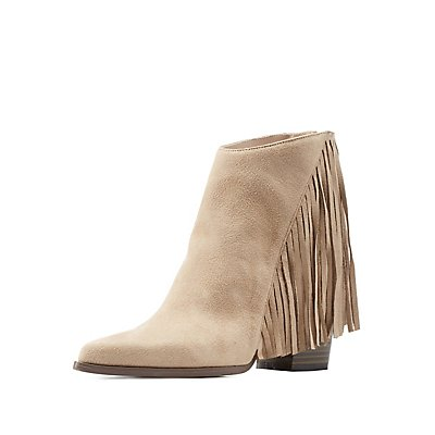 Qupid Pointed Toe Angled Fringe Booties