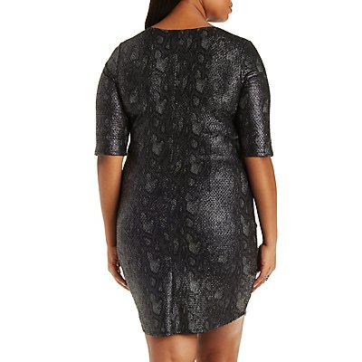Plus Size Snakeskin Print Bodycon Dress