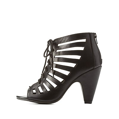 Caged Laser Cut Lace-Up Heels