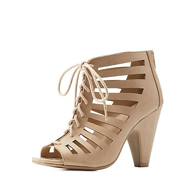 Laser Cut Caged Lace-Up Heels