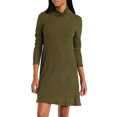 Ribbed Turtleneck Shift Dress