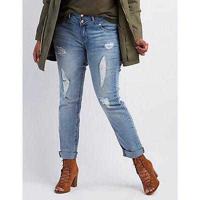 Plus Size Refuge Skinny Boyfriend Ripped Jeans
