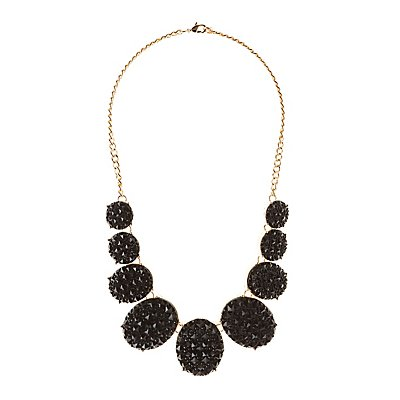 Studded Stone Bib Necklace