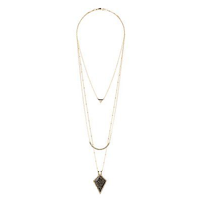 Layered Necklace with Gold Flake Pendant