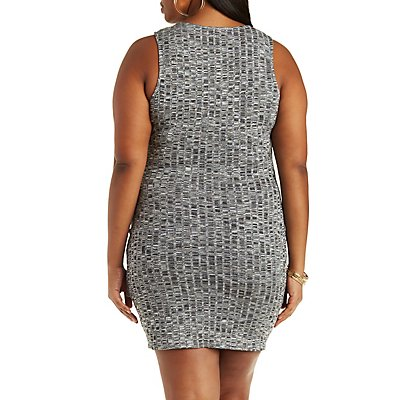 Plus Size Ribbed Knit Wrap Bodycon Dress