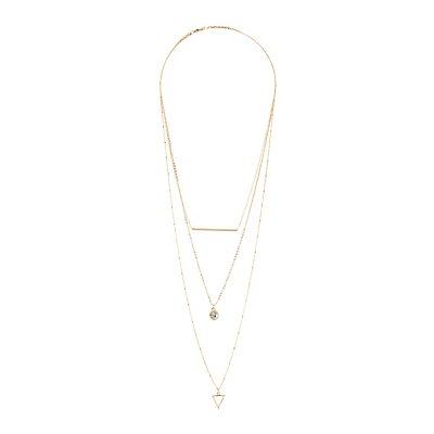 Geometric Layered Necklace and Hoop Earrings Set