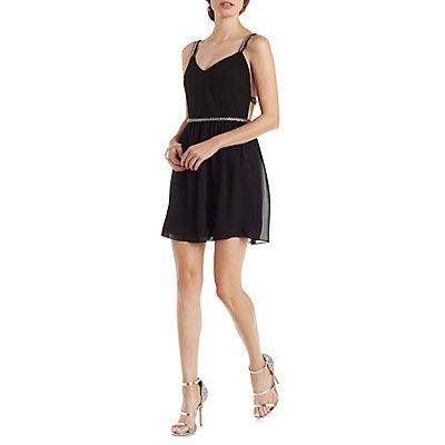 Beaded Strappy Skater Dress