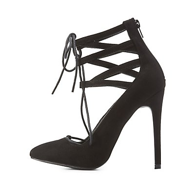 Lace-Up Caged Pointed Toe Pumps