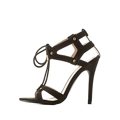 Qupid Caged Cut-Out Lace-Up Heels