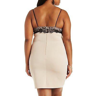 Plus Size Color Block Lace Bodycon Dress