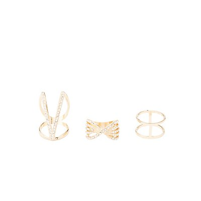 Caged Rhinestone Statement Rings - 3 Pack