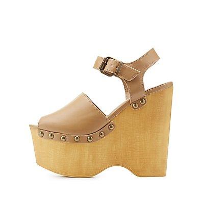 Studded Platform Wedge Sandals