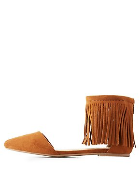 Fringed Ankle Cuff Pointed Toe Flats