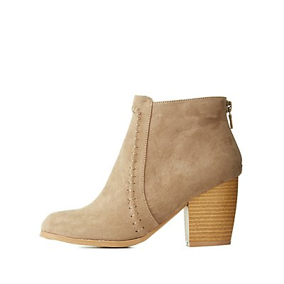 Qupid Whip-Stitched Chunky Heel Booties