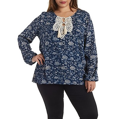 Plus Size Crochet Trim Gauzy Floral Top with Tie