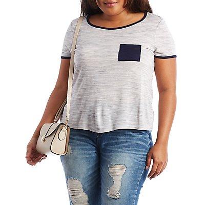 Plus Size Short Sleeve Ringer Tee with Pocket