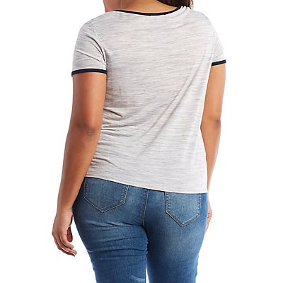 Plus Size Short Sleeve Ringer Tee with Pocket