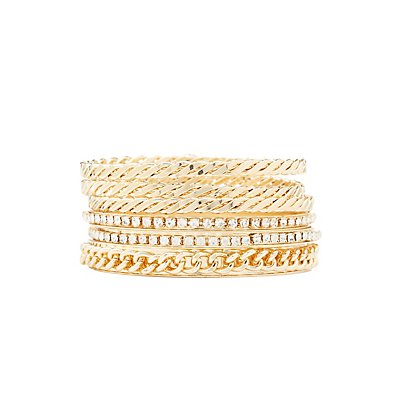 Etched & Embellished Bangle Bracelets- 6 Pack