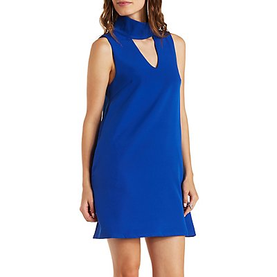 E.SSUE Cut-Out Mock Neck Shift Dress