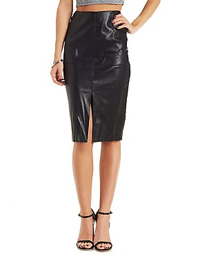Faux Leather Pencil Skirt with Front Slit