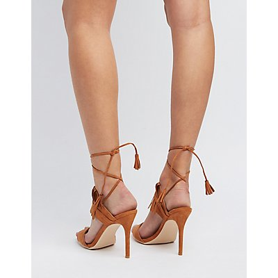Fringed Lace-Up Dress Sandals