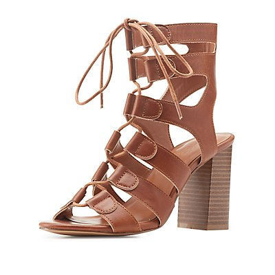 Lace-Up Caged Dress Sandals