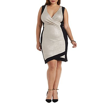 Plus Size Shimmering Color Block Dress