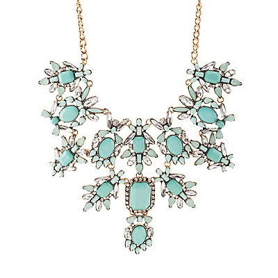 Gemstone & Diamante Bib Necklace