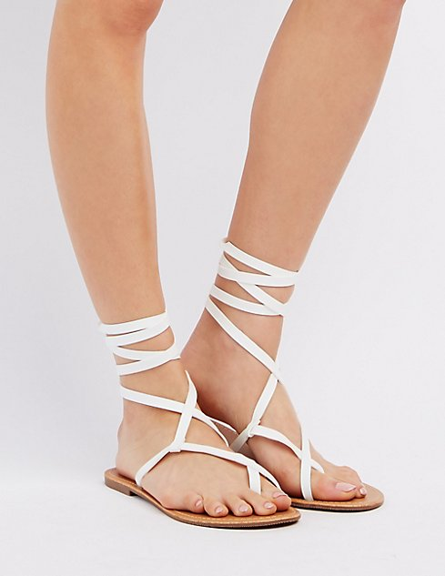 751d1dbb483 Lace-Up Toe Loop Sandals ...