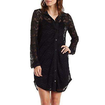 Long Sleeve Lace Shift Dress