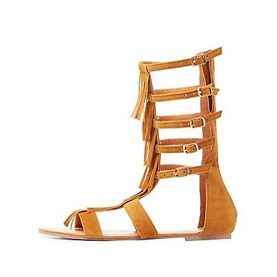 Fringed Gladiator Sandals