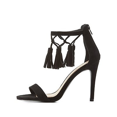 Qupid Two-Piece Tassel Sandals
