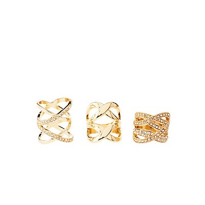 Caged Rhinestone Rings - 3 Pack