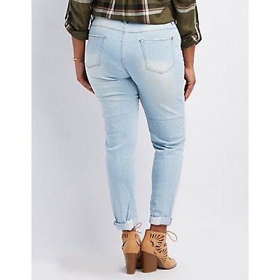 Plus Size Dollhouse Destroyed Boyfriend Jeans