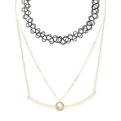 Tattoo Choker & Layering Necklaces - 3 Pack