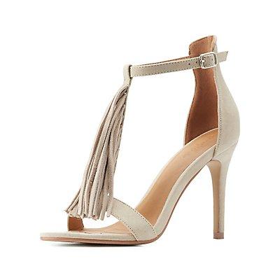 T-Strap Fringe Dress Sandals