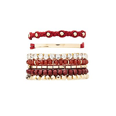 Rhinestone & Studded Mixed Bracelets - 7 Pack