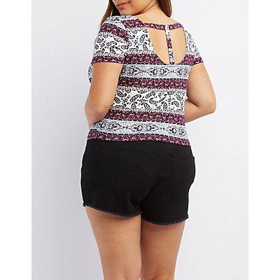 Plus Size Paisley T-Back Top