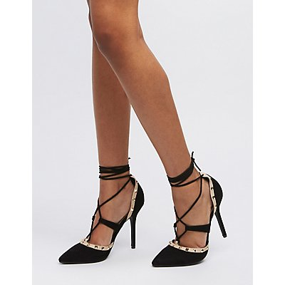Studded Lace-Up D'Orsay Pumps