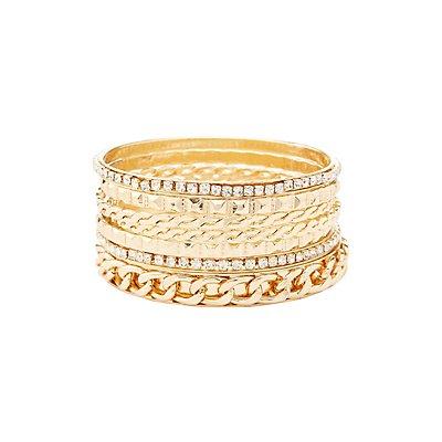 Chainlink & Embellished Bangle Bracelets - 7 Pack