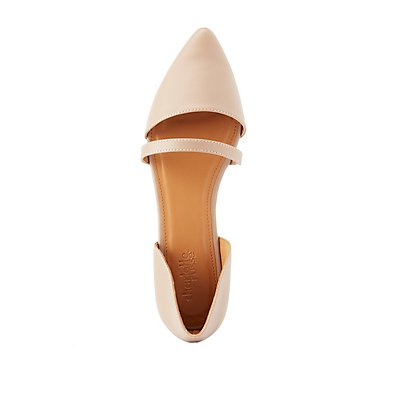 Pointed Toe Accent-Strap Flats