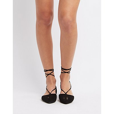 Qupid Braided Lace-Up Flats
