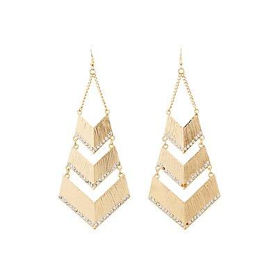 Embellished Chevron Drop Earrings